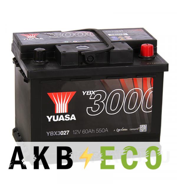 Автомобильный аккумулятор YUASA YBX3000 62R (550А 242x175x190) YBX3027