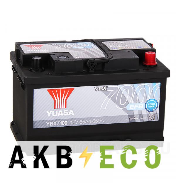 Автомобильный аккумулятор YUASA EFB 65R (650А 278x175x175) Start-Stop, YBX7100