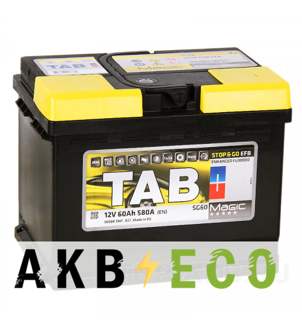 Автомобильный аккумулятор Tab EFB Stop-n-Go 60R (580A 242x175x190) 212060 56088