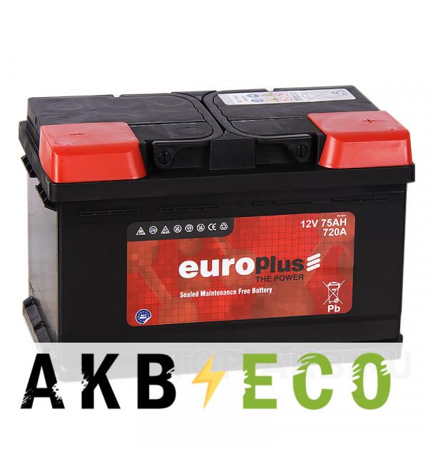 Автомобильный аккумулятор Europlus 75R низкий (720A 278x175x175)