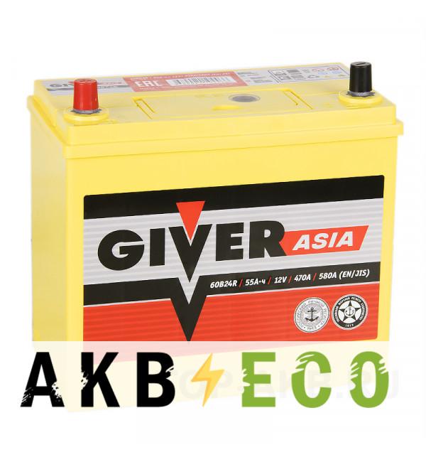 Автомобильный аккумулятор Giver 60B24R (55L 470A 238x129x225)