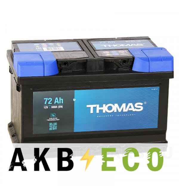 Автомобильный аккумулятор Thomas 72R низкий 680A 278x175x175