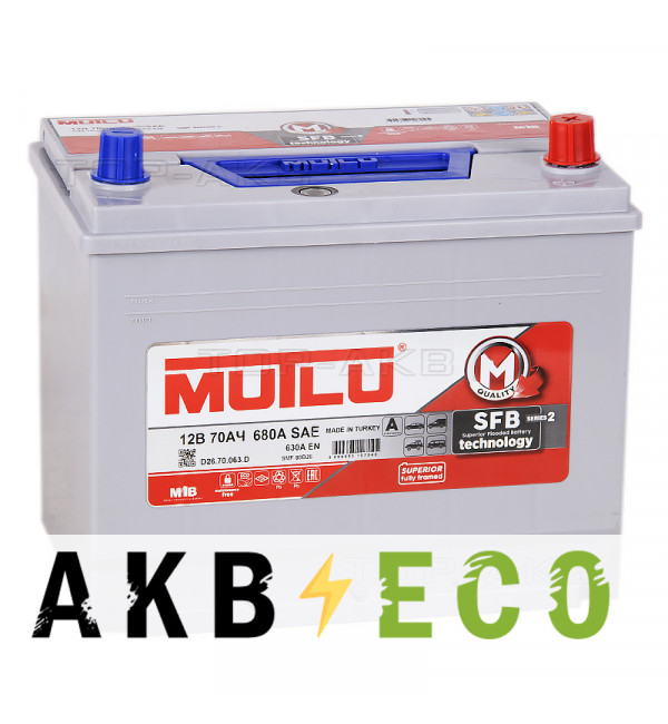 Автомобильный аккумулятор Mutlu SMF M2 Mega 80D26FL бортик 70R 630А (261x173x225) D26.70.063.C