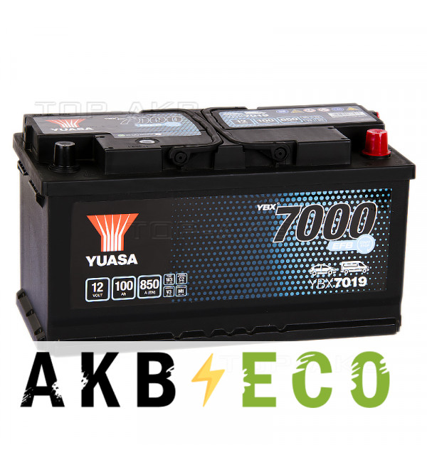 Автомобильный аккумулятор YUASA EFB 100R (850А 353x175x190) Start-Stop, YBX7019