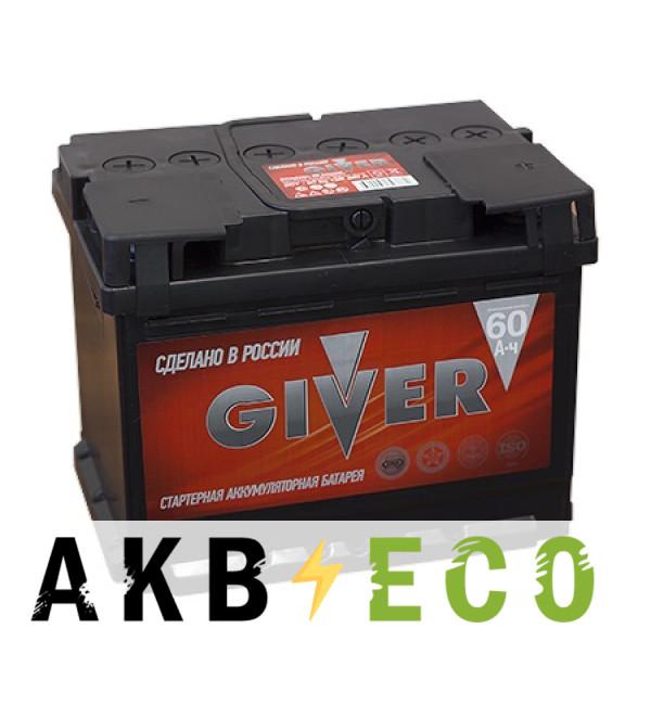 Автомобильный аккумулятор Giver 60R (480A 242x175x190)