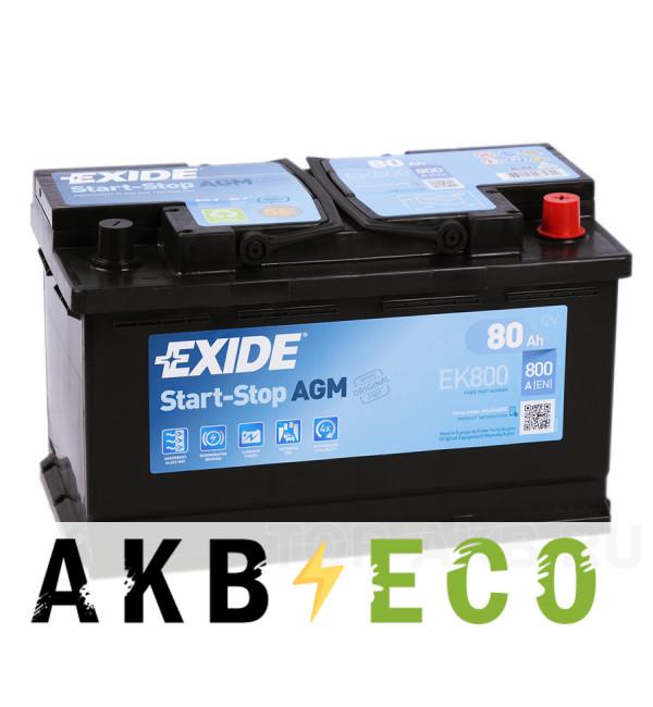 Автомобильный аккумулятор Exide Start-Stop AGM 80R (800А 315x175x190) EK800