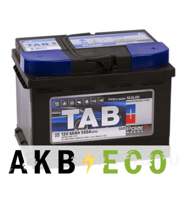 Автомобильный аккумулятор Tab Polar S 60R низкий (550A 242x175x175) 246060 56009