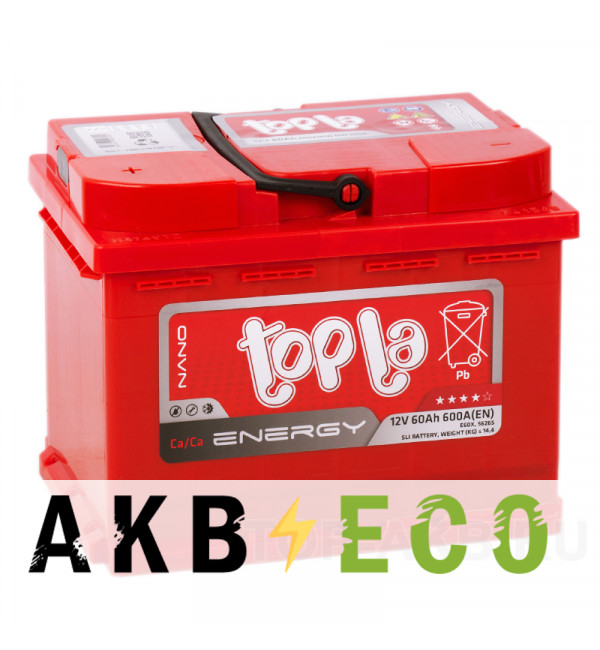 Автомобильный аккумулятор Topla Energy 60L (600A 242x175x190) 108160 56265
