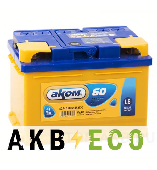Автомобильный аккумулятор Аком 60R низкий 590A (242x175x175)