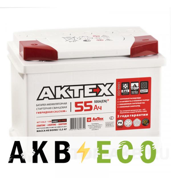 Автомобильный аккумулятор Актех 55L (500A 242x175x190)