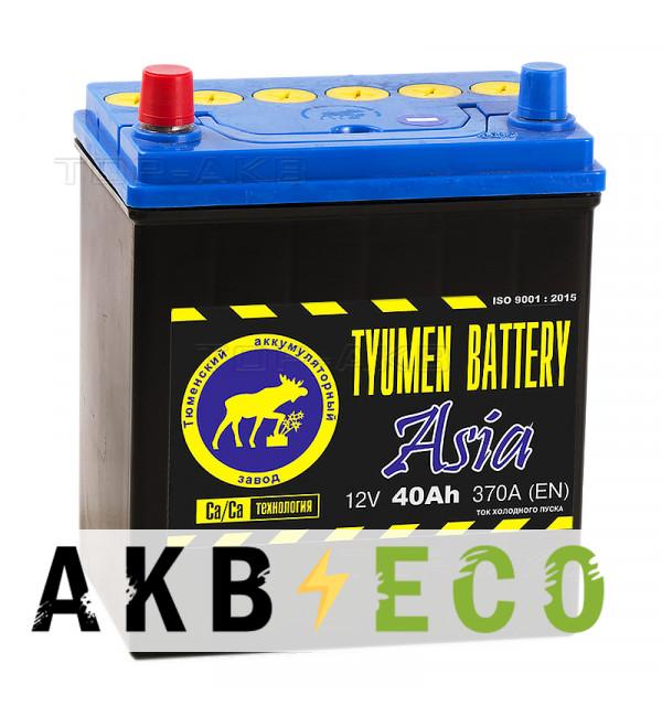 Автомобильный аккумулятор Tyumen Battery Asia 40 Ач прям. пол. 370A (187x127x227)