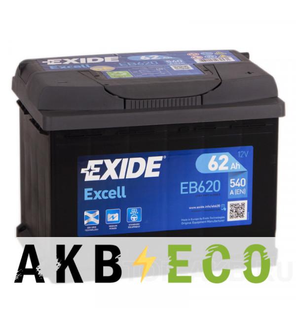 Автомобильный аккумулятор Exide Excell 62R (540A 242x175x190) EB620