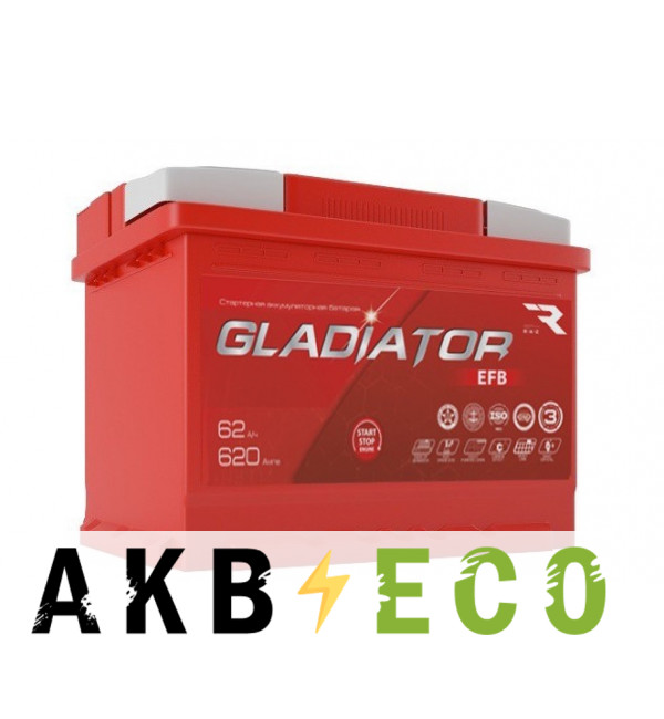 Автомобильный аккумулятор GLADIATOR EFB 62R 620A 242x175x190