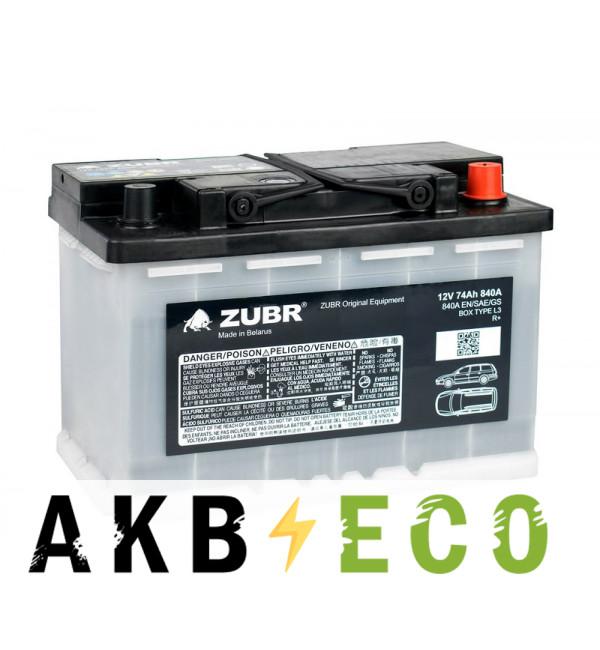 Автомобильный аккумулятор ZUBR OE 74R 840A (278x175x190) VW&Škoda