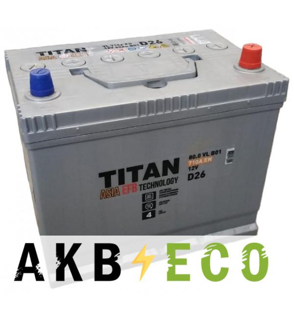Автомобильный аккумулятор Titan Asia EFB 80R (710А 260x173x225)