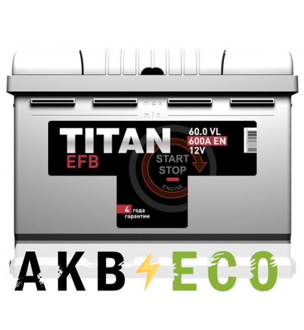 Автомобильный аккумулятор Titan EFB 60R 600A 242x175x190