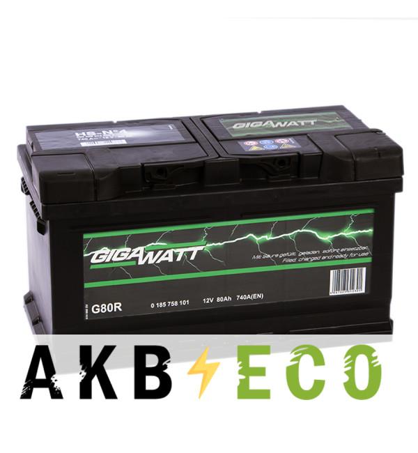 Автомобильный аккумулятор Gigawatt 80R низкий 740A (315x175x175)