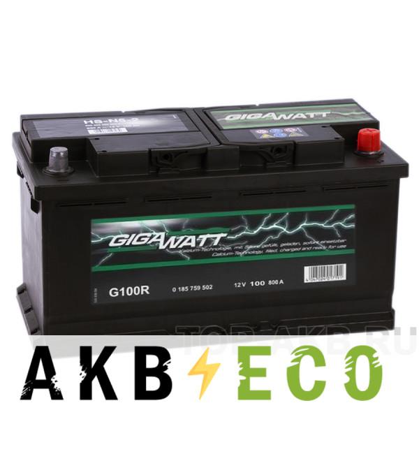 Автомобильный аккумулятор Gigawatt 100R 830A (353x175x190)