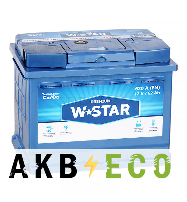 Автомобильный аккумулятор W STAR 62 Ач обр. пол. 620А (242x175x190)