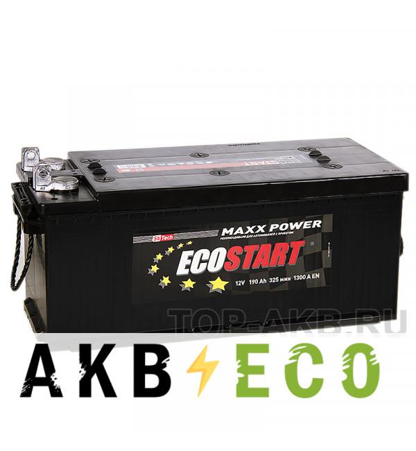 Автомобильный аккумулятор Ecostart 190 рус (1300А 524x239x240) клеммы под болт