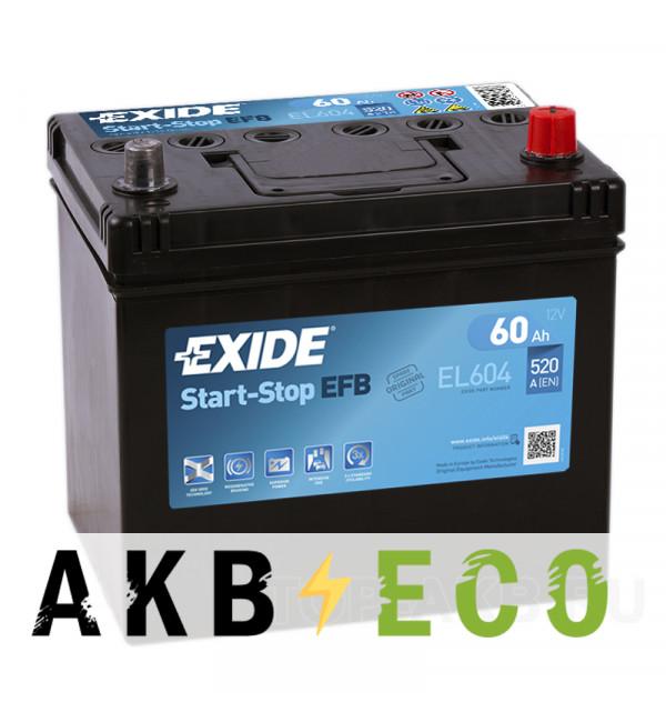 Автомобильный аккумулятор Exide Start-Stop EFB 60R (520А 230x173x222) EL604