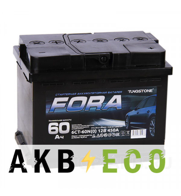 Автомобильный аккумулятор FORA 60R 450А 242x175x190