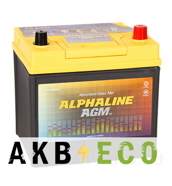 Автомобильный аккумулятор Alphaline AGM D23L 50R 550A 232x172x220 Start-Stop