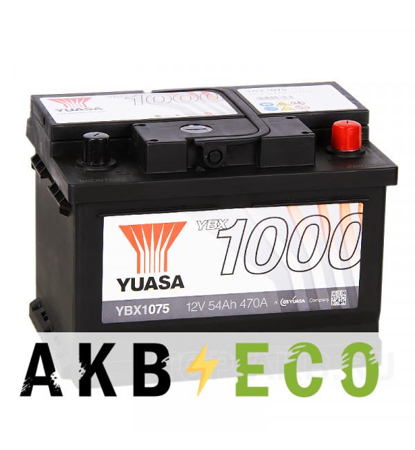 Автомобильный аккумулятор YUASA YBX1000 54R низкий (470А 242x175x175) YBX1075