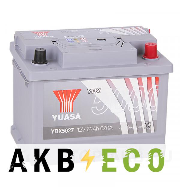 Автомобильный аккумулятор YUASA YBX5000 62R (620А 242x175x190) Silver High Performanse YBX5027