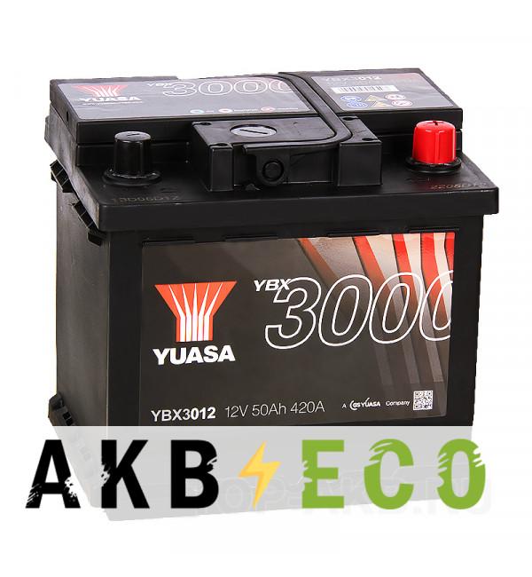 Автомобильный аккумулятор YUASA YBX3000 50R (420А 207x175x190) YBX3012