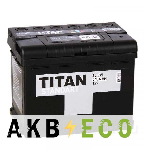 Автомобильный аккумулятор Titan Standart 60R 540A 242x175x190