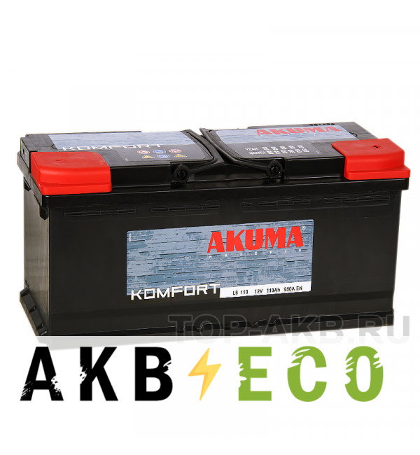 Автомобильный аккумулятор Akuma Komfort 110R 950A (393x175x190)