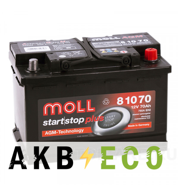 Автомобильный аккумулятор Moll AGM 70R Start-Stop 760A 276x175x190