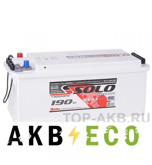 Автомобильный аккумулятор SOLO 190 евро (1300A 514х218х217) конус+болт