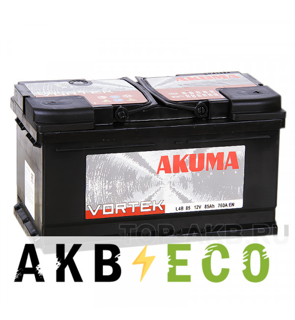 Автомобильный аккумулятор Akuma Vortek 85R низкий 760A 315x175x175 (L4B)