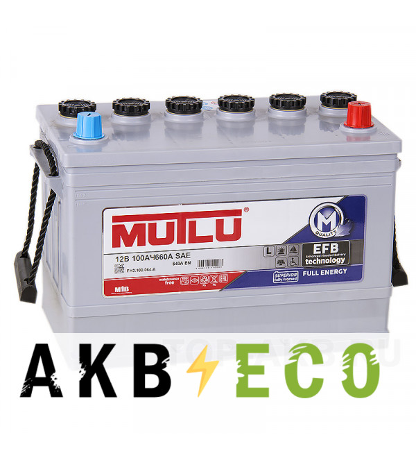 Автомобильный аккумулятор Mutlu Mega EFB 100R 640A 306x173x223