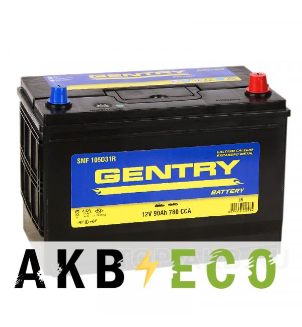 Автомобильный аккумулятор Gentry 105D31L (90R 780A 306x173x225)