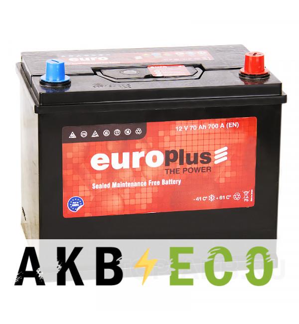 Автомобильный аккумулятор Europlus Asia 70R 700A (261x175x220) D26 обр.