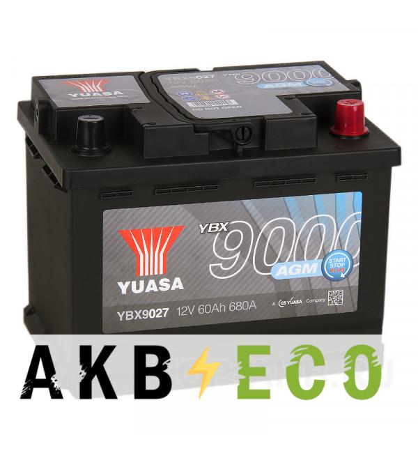 Автомобильный аккумулятор YUASA AGM 60R (680А 242x175x190) Start-Stop Plus, YBX9027