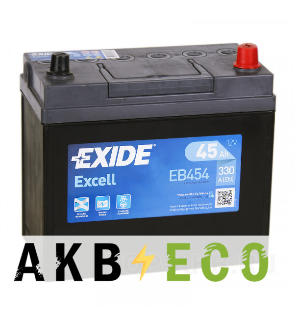 Автомобильный аккумулятор Exide Excell 45R (300A 238x129x227) EB454