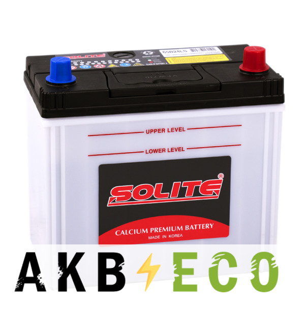Автомобильный аккумулятор Solite 65B24LS (50R 470A 236x128x220)