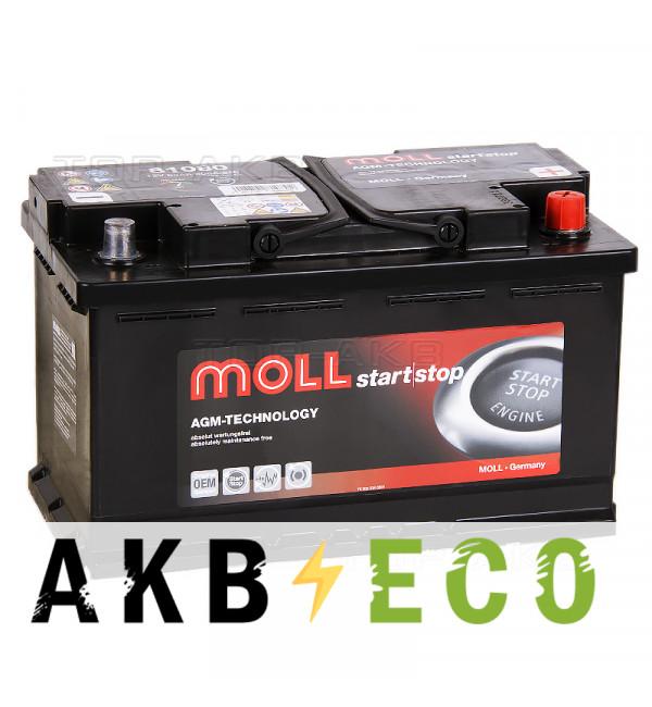 Автомобильный аккумулятор Moll AGM 80R Start-Stop 800A 315x175x190
