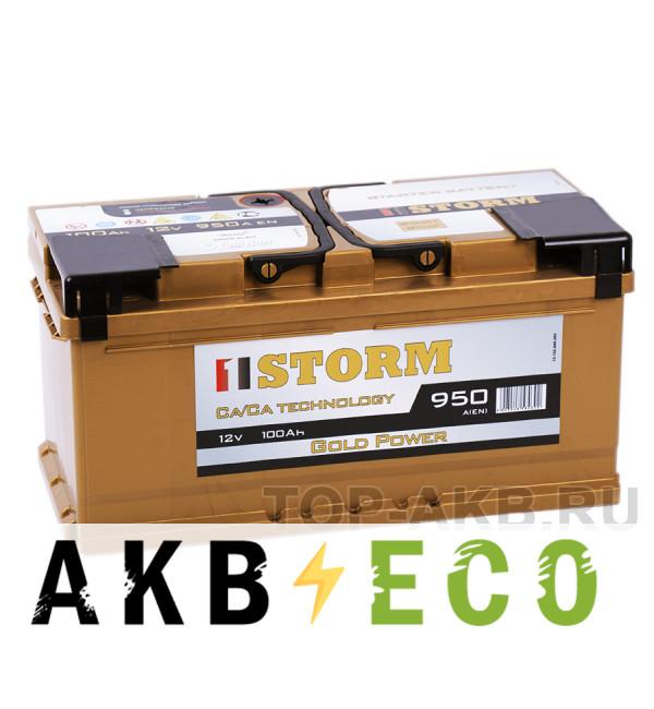 Автомобильный аккумулятор Storm Gold 100R низкий 950A 353x175x175