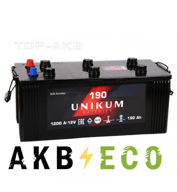 Автомобильный аккумулятор UNIKUM 190 евро 1200A (518x228x236)