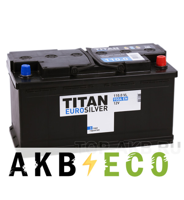 Автомобильный аккумулятор Titan Euro Silver 110R 950A 353x175x190