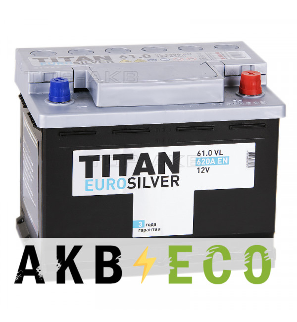 Автомобильный аккумулятор Titan Euro Silver 61R 620A 242x175x190