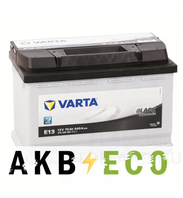 Автомобильный аккумулятор Varta Black Dynamic E13 70R 640A 278x175x190