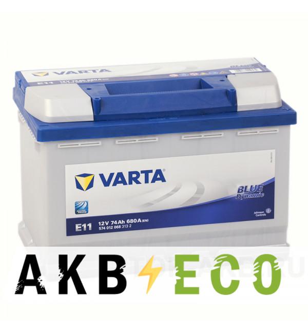 Автомобильный аккумулятор Varta Blue Dynamic E11 74R 680A 278x175x190