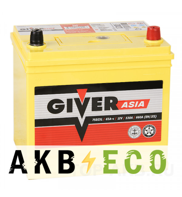 Автомобильный аккумулятор Giver 75D23L (65R 530A 232x173x225)