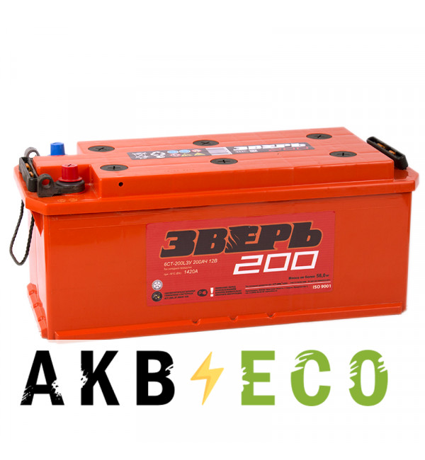 Автомобильный аккумулятор Зверь 200 рус 1420A 514x218x210